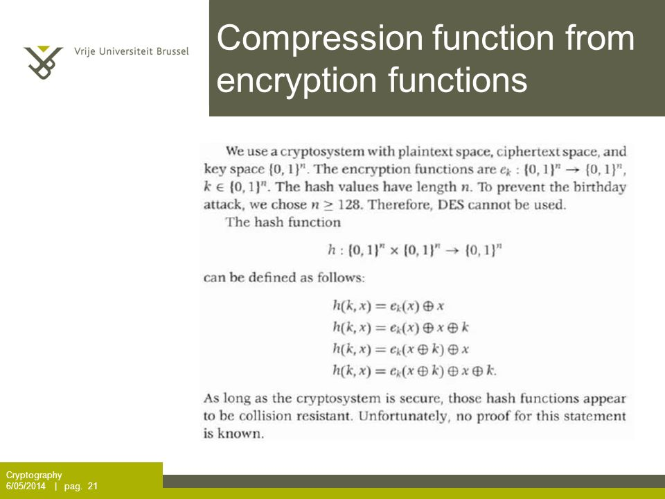 Compression function from encryption functions Cryptography 6/05/2014 | pag. 21