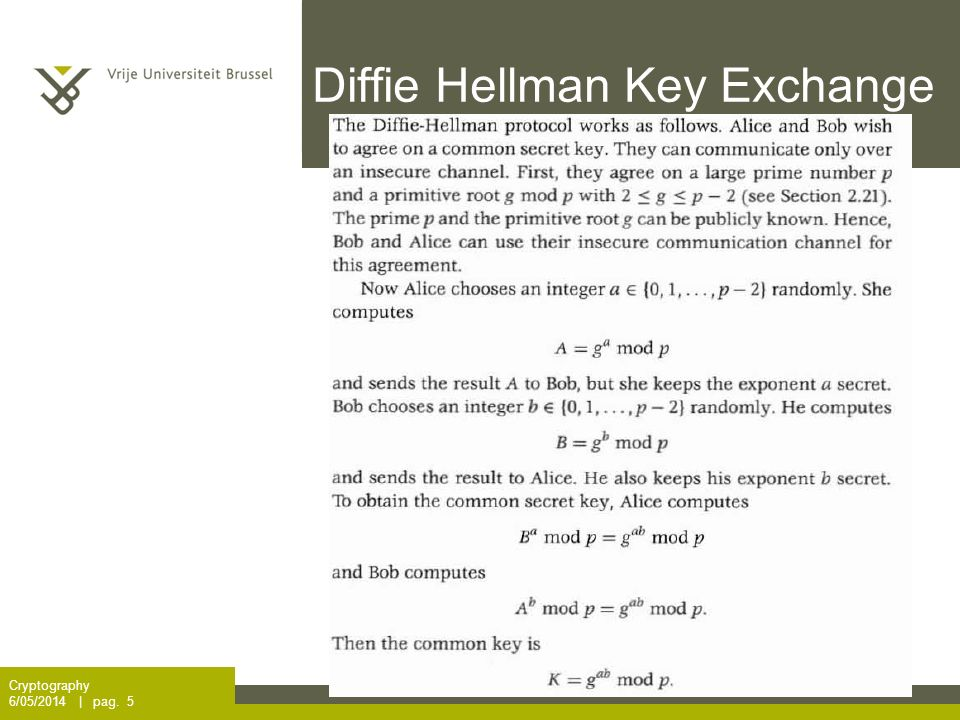 Diffie Hellman Key Exchange Cryptography 6/05/2014 | pag. 5