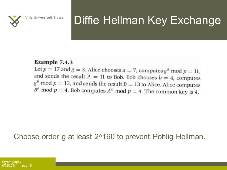 Diffie Hellman Key Exchange Cryptography 6/05/2014 | pag. 6 Choose order g at least 2^160 to prevent Pohlig Hellman.
