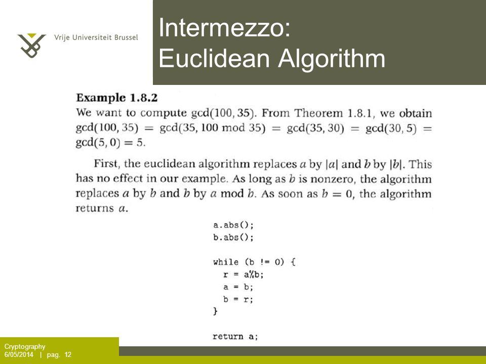 Intermezzo: Euclidean Algorithm Cryptography 6/05/2014 | pag. 12