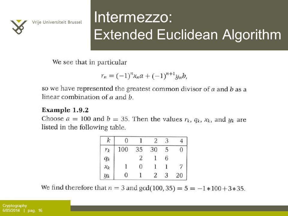 Intermezzo: Extended Euclidean Algorithm Cryptography 6/05/2014 | pag. 16