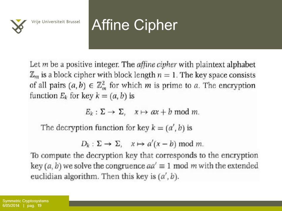 Affine Cipher Symmetric Cryptosystems 6/05/2014 | pag. 19