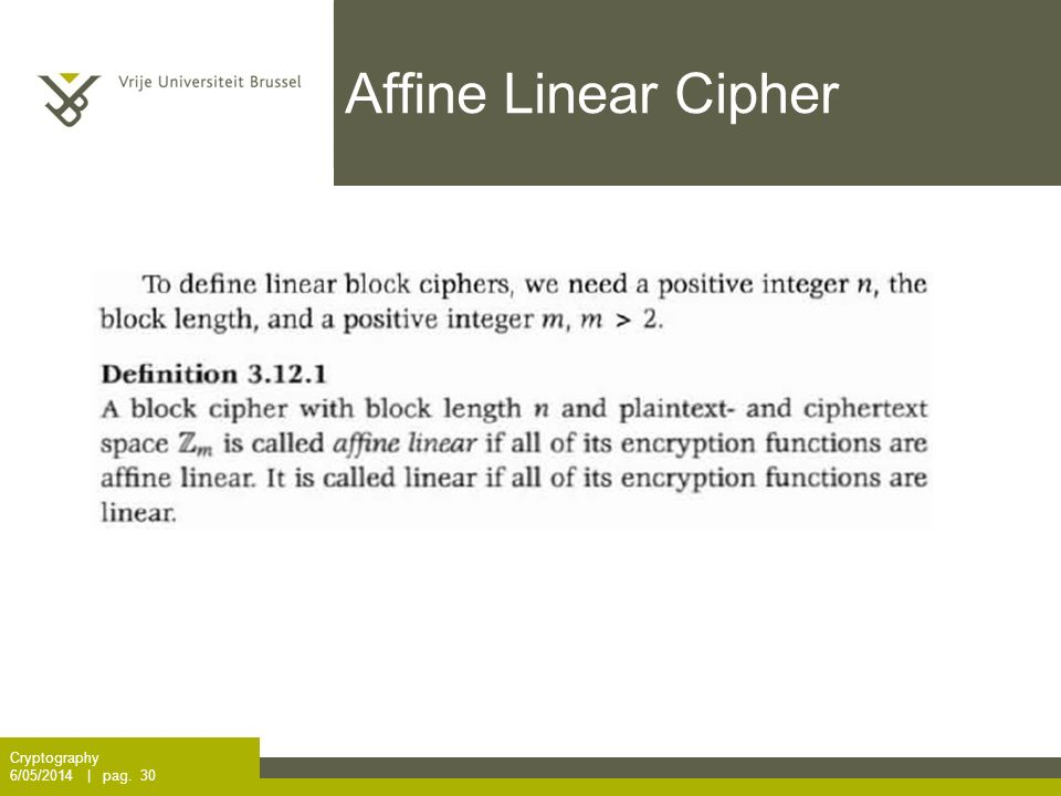 Affine Linear Cipher Cryptography 6/05/2014 | pag. 30