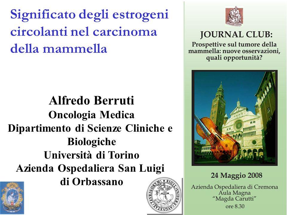 Alfredo Berruti Oncologia Medica Dipartimento di Scienze Cliniche e Biologiche Università di Torino Azienda Ospedaliera San Luigi di Orbassano Significato degli estrogeni circolanti nel carcinoma della mammella