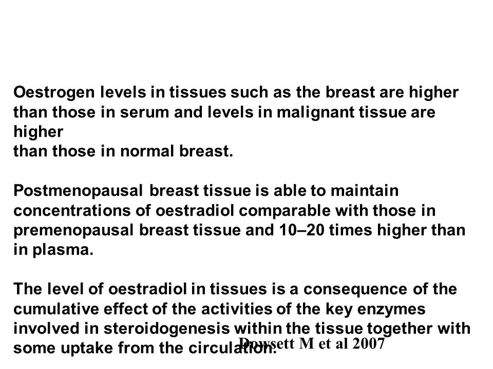 Oestrogen levels in tissues such as the breast are higher than those in serum and levels in malignant tissue are higher than those in normal breast.