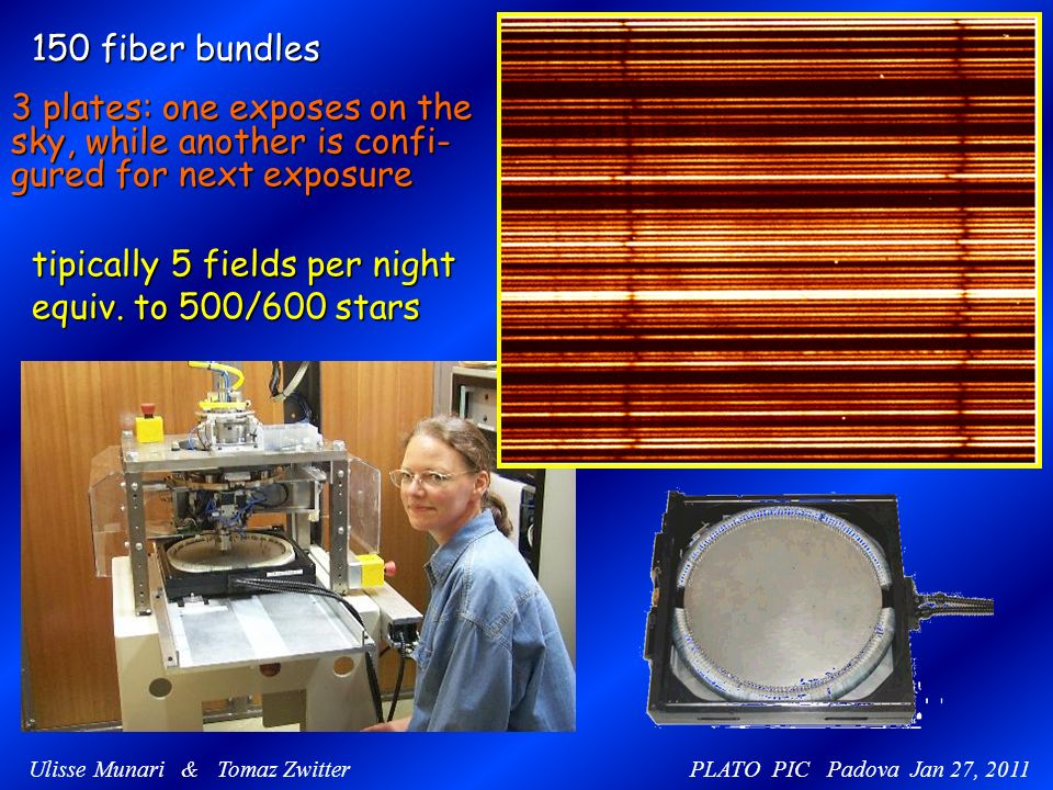 150 fiber bundles 3 plates: one exposes on the sky, while another is confi- gured for next exposure tipically 5 fields per night equiv. to 500/600 sta
