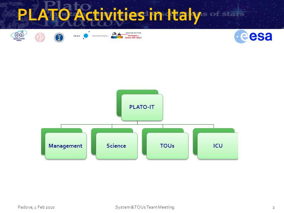 PLATO Activities in Italy Padova, 1 Feb 2010System &TOUs Team Meeting2 PLATO-ITManagementScienceTOUsICU
