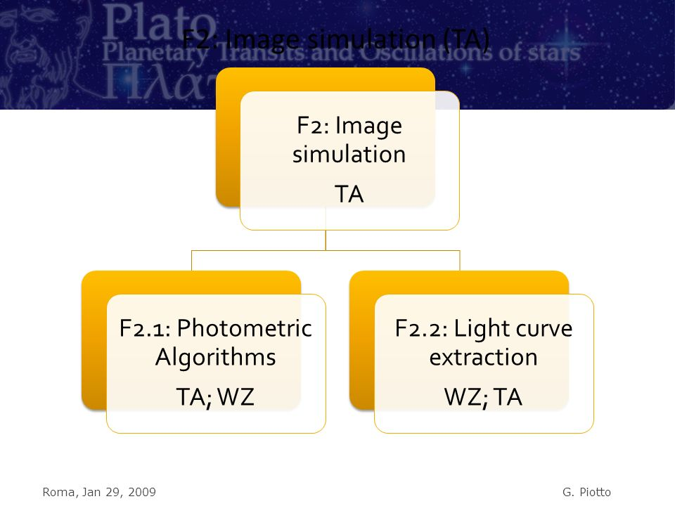 F2: Image simulation TA F2.1: Photometric Algorithms TA; WZ F2.2: Light curve extraction WZ; TA F2: Image simulation (TA) Roma, Jan 29, 2009G.