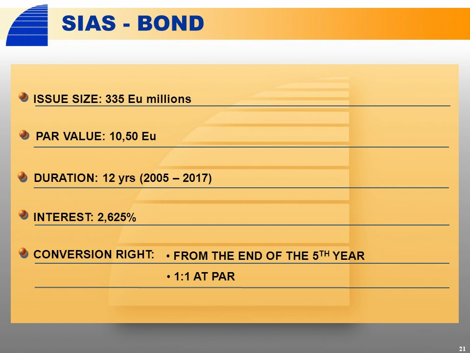 ISSUE SIZE: 335 Eu millions SIAS - BOND INTEREST: 2,625% CONVERSION RIGHT: 21 PAR VALUE: 10,50 Eu DURATION: 12 yrs (2005 – 2017) FROM THE END OF THE 5 TH YEAR 1:1 AT PAR