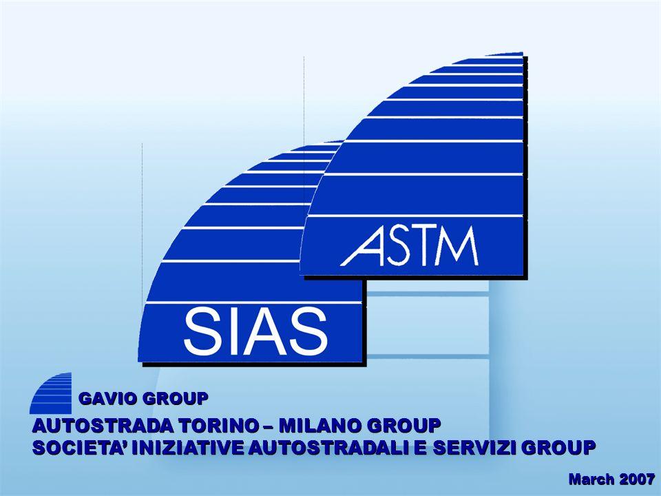 March 2007 AUTOSTRADA TORINO – MILANO GROUP SOCIETA INIZIATIVE AUTOSTRADALI E SERVIZI GROUP GAVIO GROUP
