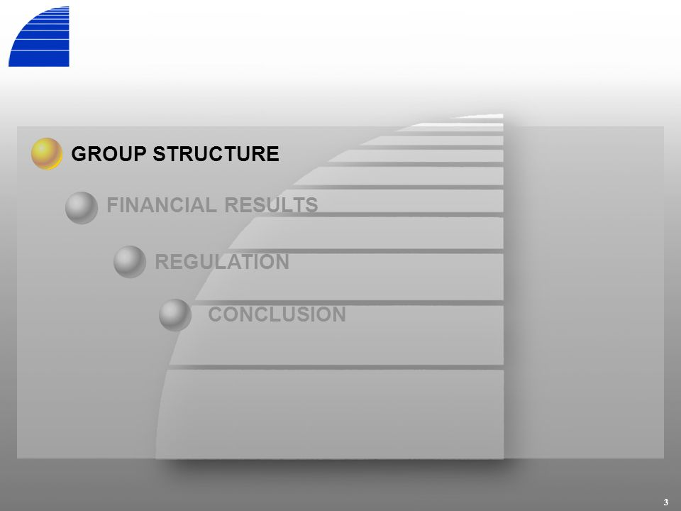 3 REGULATION GROUP STRUCTURE FINANCIAL RESULTS CONCLUSION