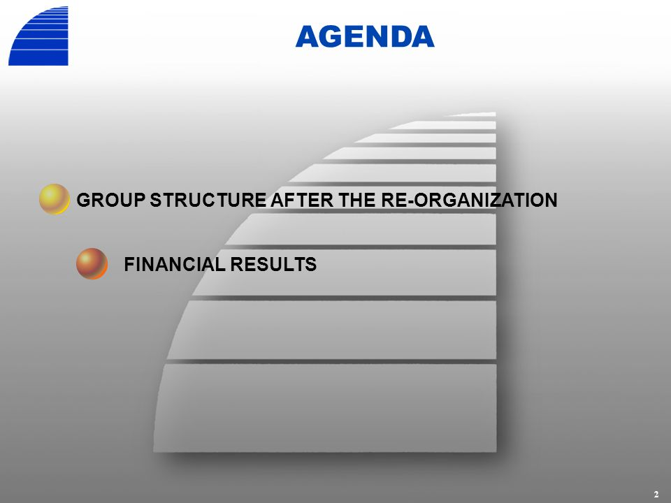 2 AGENDA GROUP STRUCTURE AFTER THE RE-ORGANIZATION FINANCIAL RESULTS