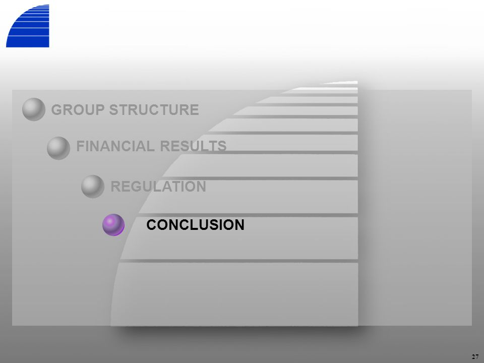 27 REGULATION GROUP STRUCTURE FINANCIAL RESULTS CONCLUSION