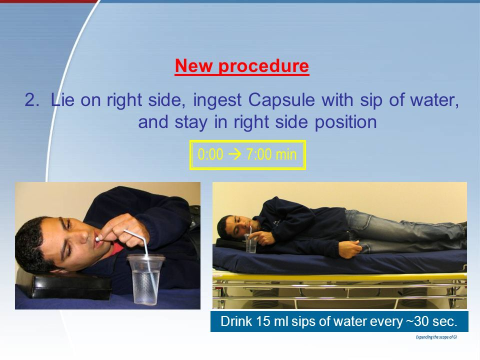 New procedure 2. Lie on right side, ingest Capsule with sip of water, and stay in right side position Drink 15 ml sips of water every ~30 sec. 0:00 7: