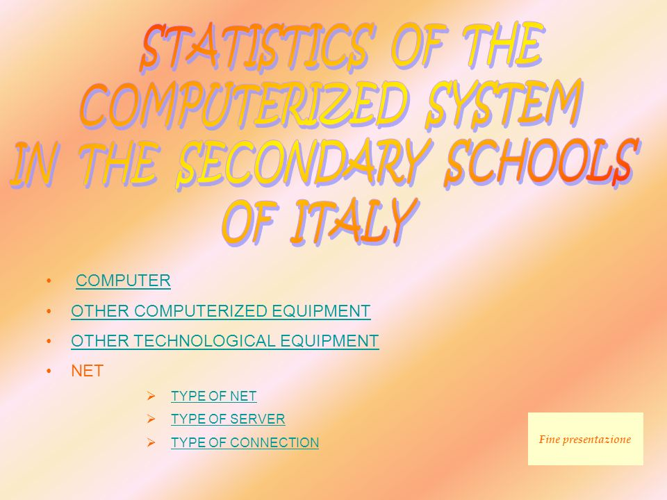 COMPUTER Type of school: secondary school Schools take into consideration: 4.514 Type of cpmputer Number of desktop Number of laptop Overall computers% of overall 4866.1311676.2986,5 Pentium 19.793829.87510,19 Pentium 215.54722215.76916,27 Pentium 316.20346616.66917,19 Pentium 420.9091.21722.12622,82 AMD K51.348221.3701,41 AMD K63.792463.8383,96 AMD K75.5661425.7085,89 Celeron Duron 5335.784845.8686,05 Celeron Duron 14005.7841405.9246,11 Celeron Duron > 14002.929803.0093,1 iMac 33320422060,21 iMac 500112 0,12 iMac 1G16451690,17 Totali94.2662.67596.941100 GRAPHIC