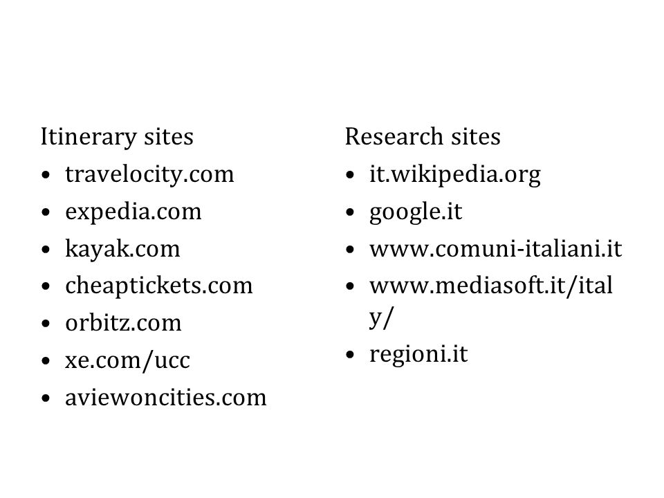 Itinerary sites travelocity.com expedia.com kayak.com cheaptickets.com orbitz.com xe.com/ucc aviewoncities.com Research sites it.wikipedia.org google.it www.comuni-italiani.it www.mediasoft.it/ital y/ regioni.it