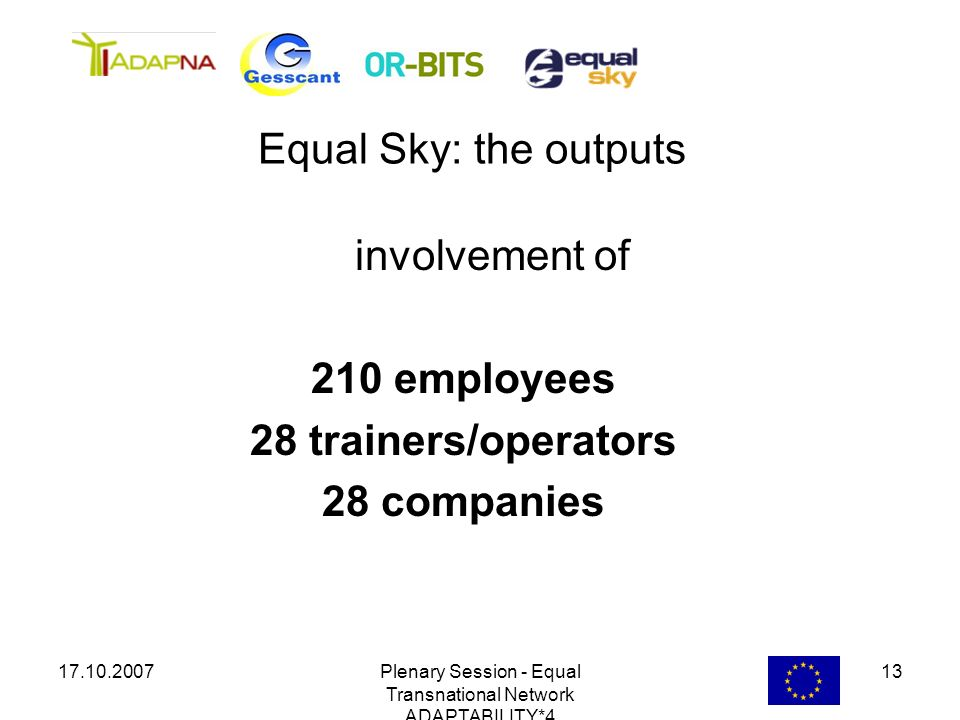 17.10.2007Plenary Session - Equal Transnational Network ADAPTABILITY*4 13 involvement of 210 employees 28 trainers/operators 28 companies Equal Sky: t