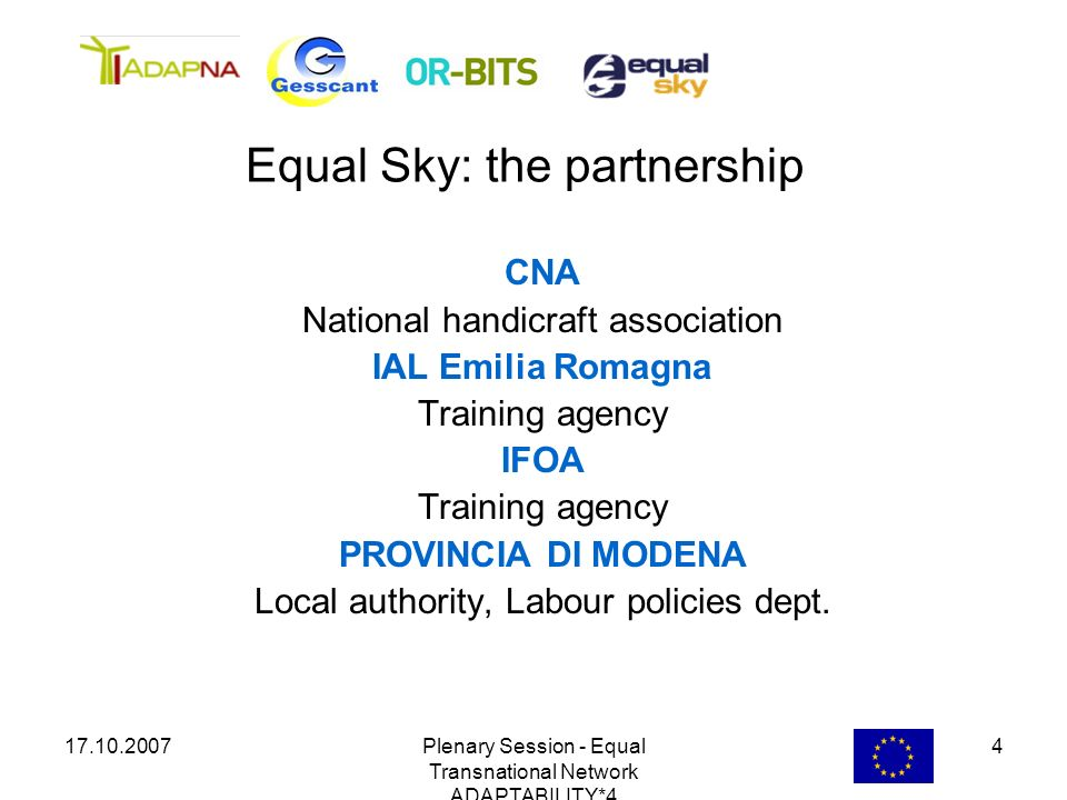 17.10.2007Plenary Session - Equal Transnational Network ADAPTABILITY*4 4 CNA National handicraft association IAL Emilia Romagna Training agency IFOA T