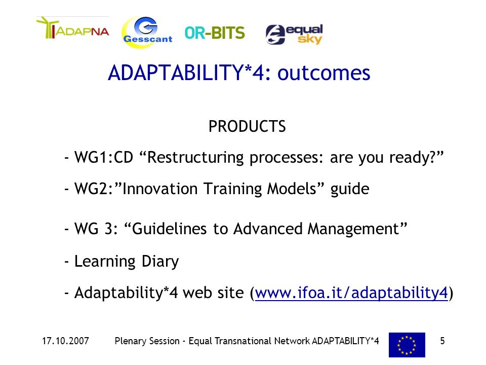 17.10.2007Plenary Session - Equal Transnational Network ADAPTABILITY*45 PRODUCTS - WG1:CD Restructuring processes: are you ready.