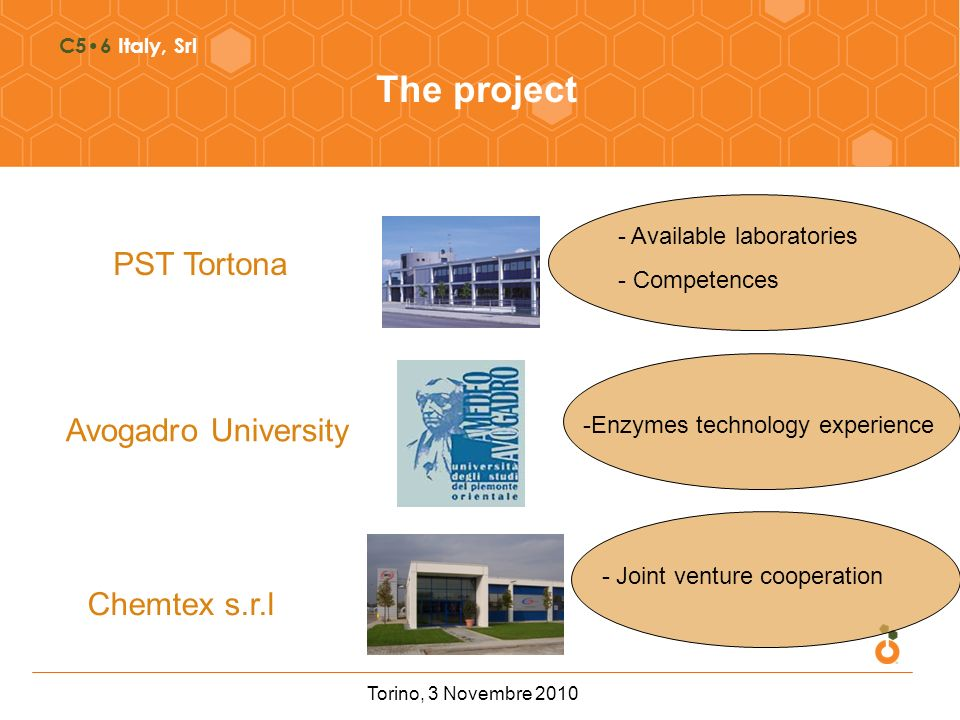C56 Italy, Srl The project PST Tortona Chemtex s.r.l Avogadro University -Enzymes technology experience - Available laboratories - Competences - Joint