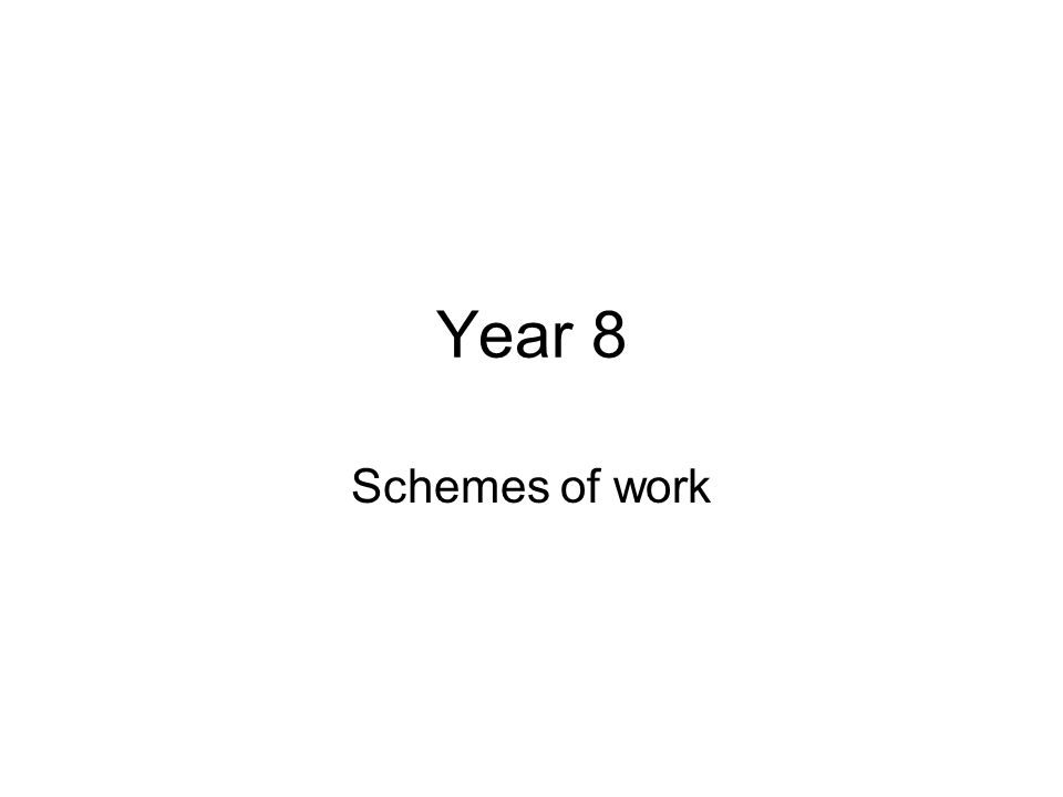 Year 8 Schemes of work