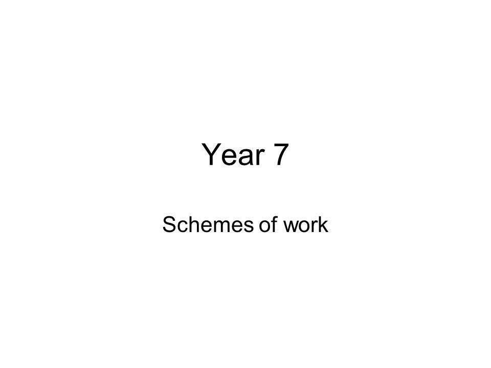 Year 7 Schemes of work