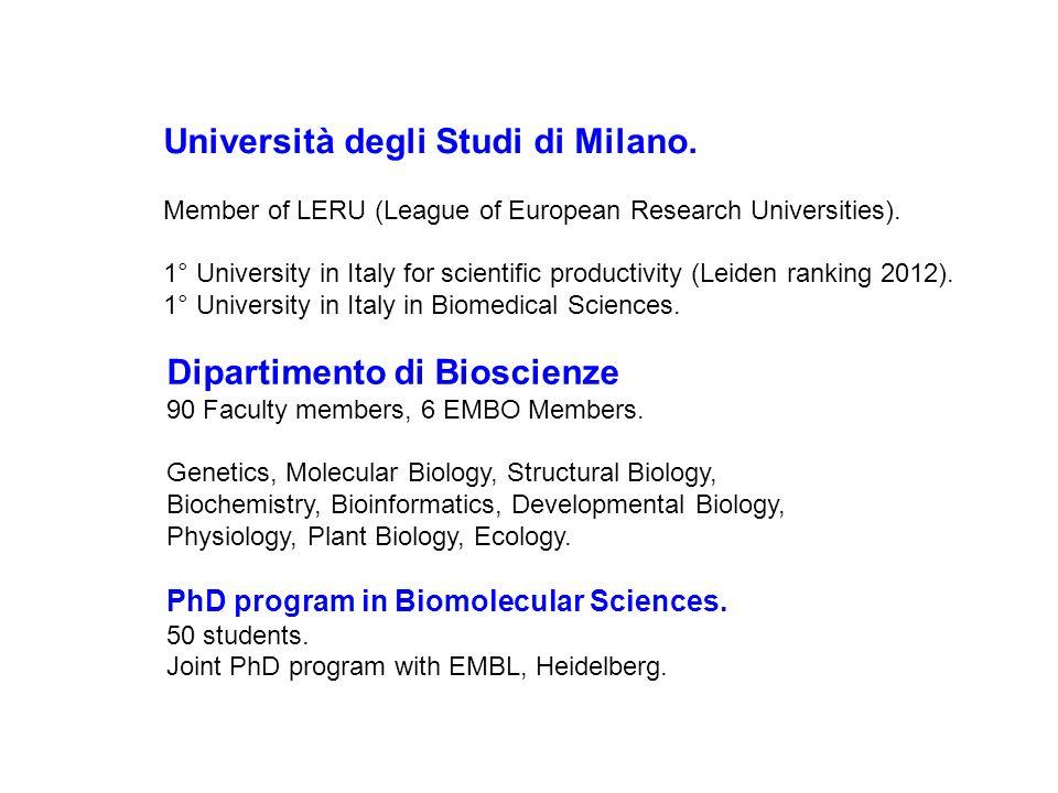 Università degli Studi di Milano. Member of LERU (League of European Research Universities). 1° University in Italy for scientific productivity (Leide