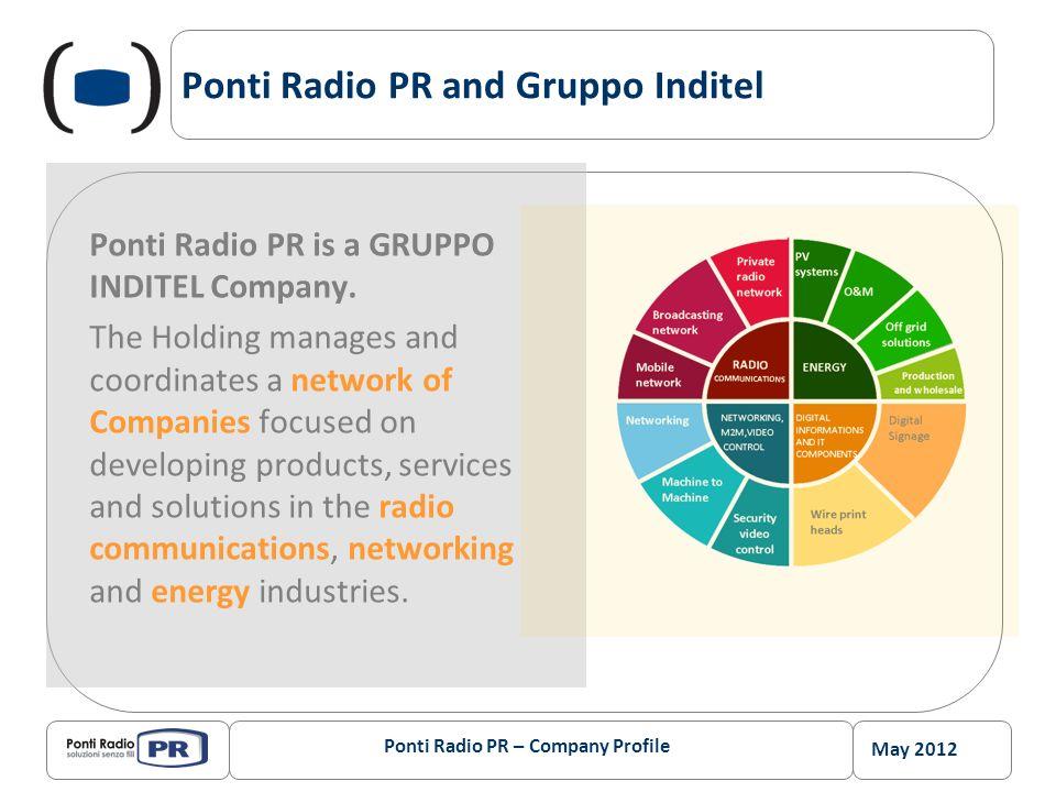 May 2012 Ponti Radio PR – Company Profile Ponti Radio PR and Gruppo Inditel Ponti Radio PR is a GRUPPO INDITEL Company. The Holding manages and coordi