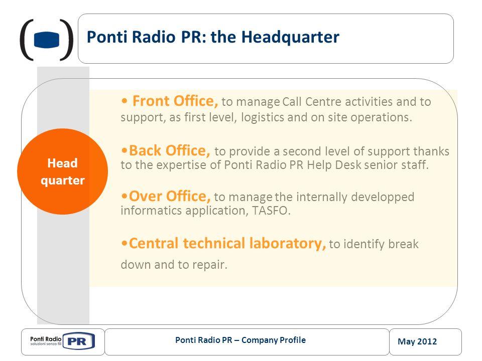May 2012 Ponti Radio PR – Company Profile 15 O&M Operative Branch Offices (service points) spread all over Italian territory Ponti Radio PR provides O&M services within 120 Km radius on 90% of Italian territory.