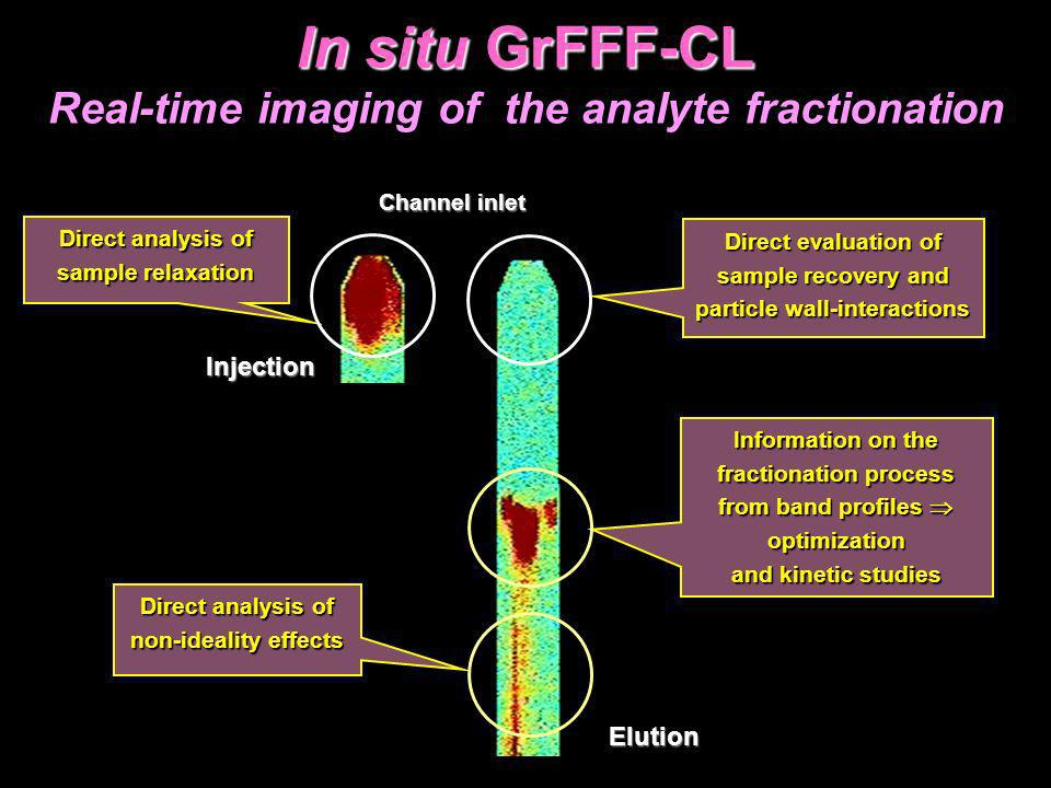 In situ GrFFF-CL Real-time imaging of the analyte fractionation Direct evaluation of sample recovery and particle wall-interactions Direct evaluation