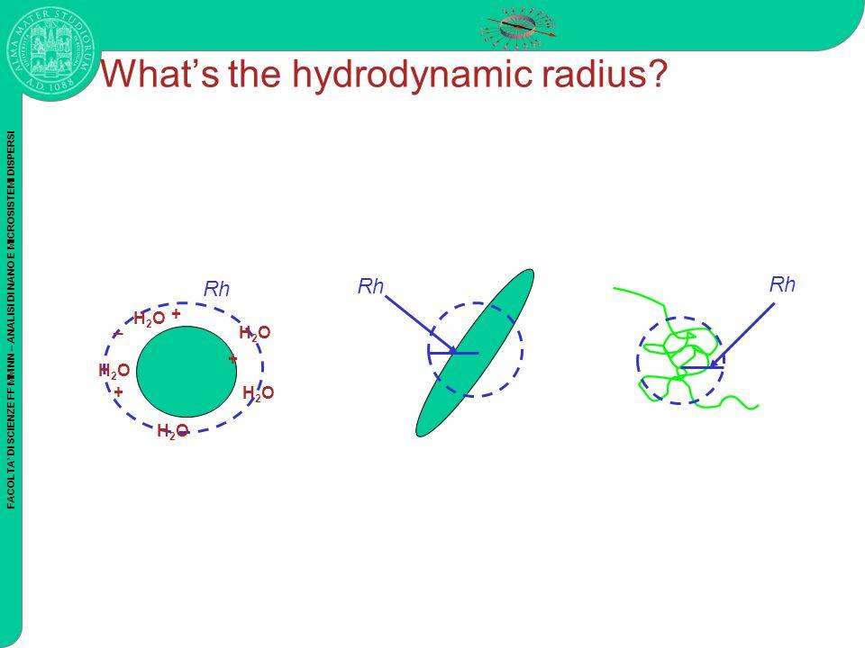 FACOLTA DI SCIENZE FF MM NN – ANALISI DI NANO E MICROSISTEMI DISPERSI Whats the hydrodynamic radius? Rh H2OH2O H2OH2O H2OH2O H2OH2O H2OH2O + + + _