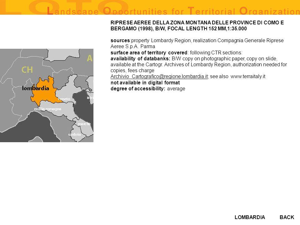LOMBARDIABACK RIPRESE AEREE DELLA ZONA MONTANA DELLE PROVINCE DI COMO E BERGAMO (1998), B/W, FOCAL LENGTH 152 MM,1:35.000 sources:property Lombardy Re