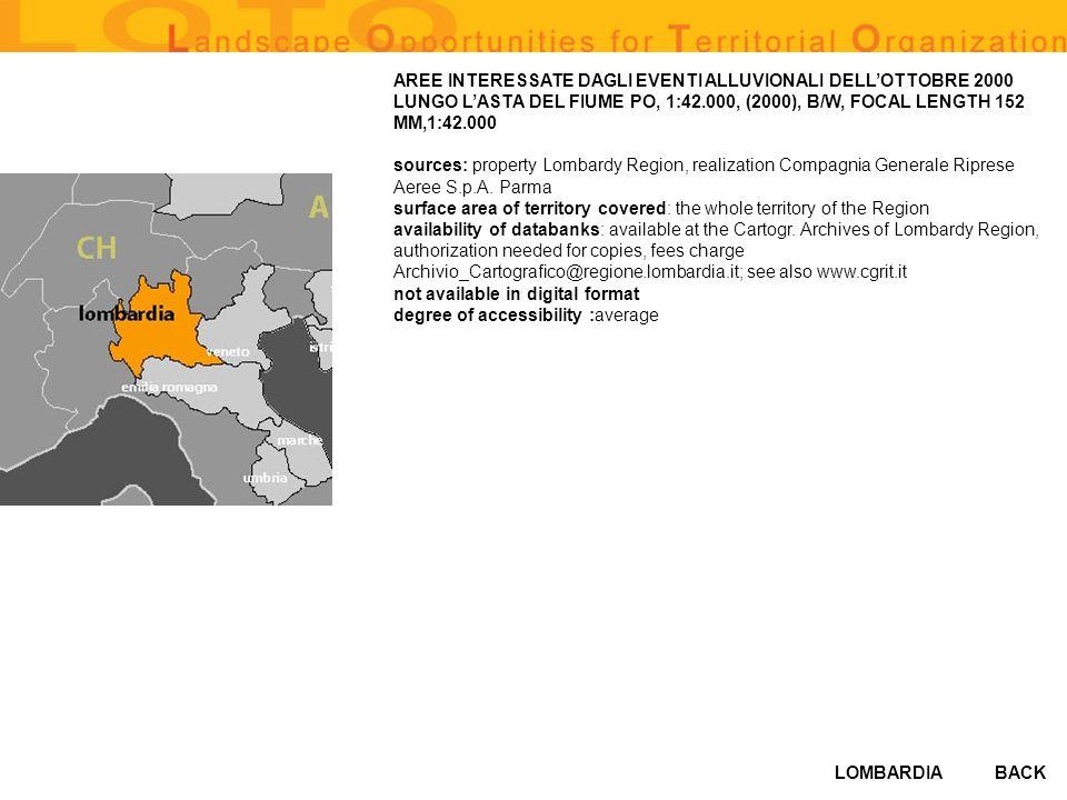 LOMBARDIABACK AREE INTERESSATE DAGLI EVENTI ALLUVIONALI DELLOTTOBRE 2000 LUNGO LASTA DEL FIUME PO, 1:42.000, (2000), B/W, FOCAL LENGTH 152 MM,1:42.000