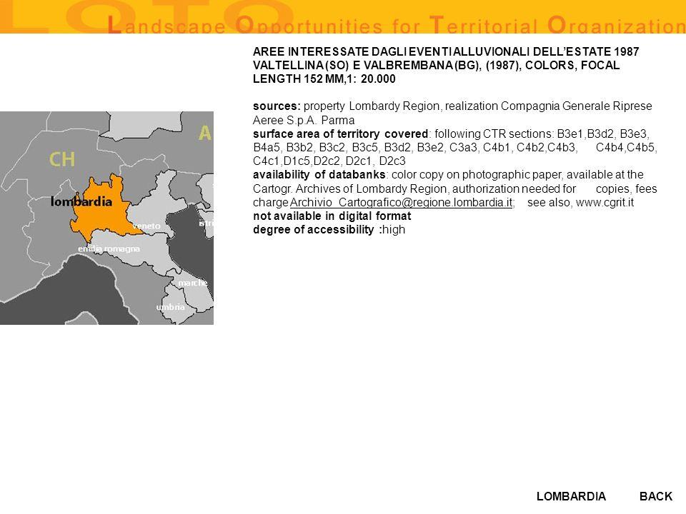 LOMBARDIABACK AREE INTERESSATE DAGLI EVENTI ALLUVIONALI DELLESTATE 1987 VALTELLINA (SO) E VALBREMBANA (BG), (1987), COLORS, FOCAL LENGTH 152 MM,1: 20.