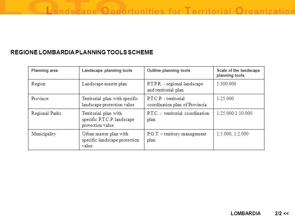 LOMBARDIA2/2 << Planning areaLandscape planning toolsOutline planning toolsScale of the landscape planning tools RegionLandscape master planP.T.P.R. -