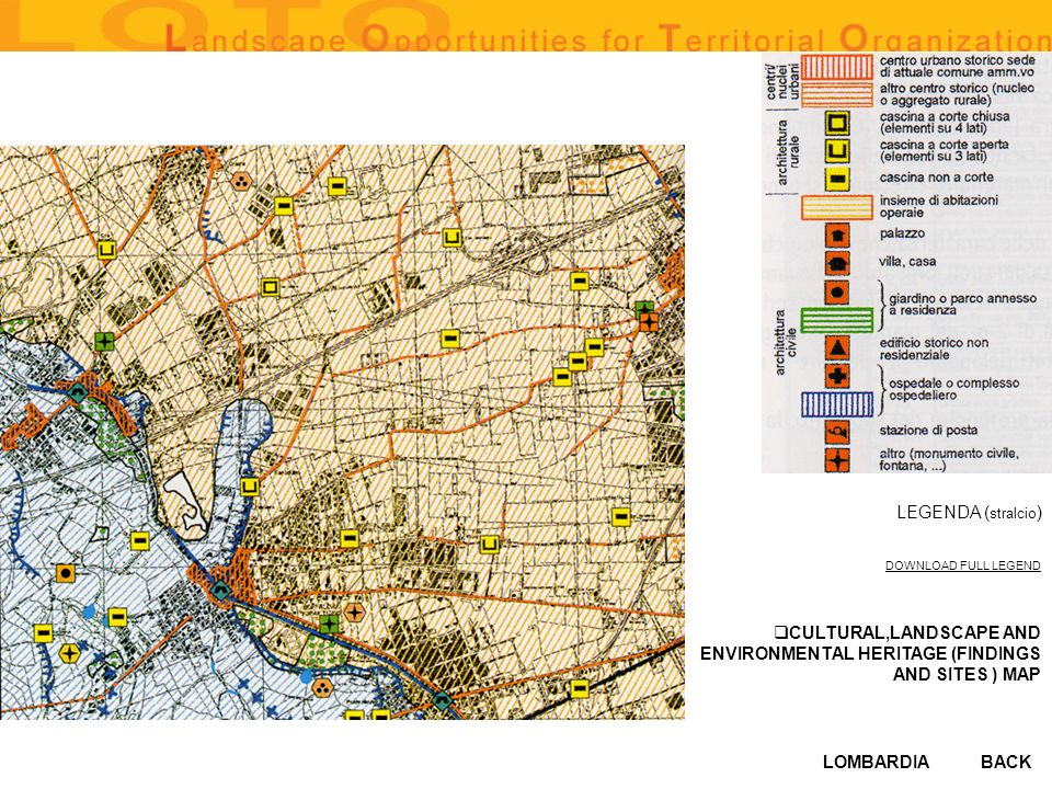 LOMBARDIABACK CULTURAL,LANDSCAPE AND ENVIRONMENTAL HERITAGE (FINDINGS AND SITES ) MAP LEGENDA ( stralcio ) DOWNLOAD FULL LEGEND