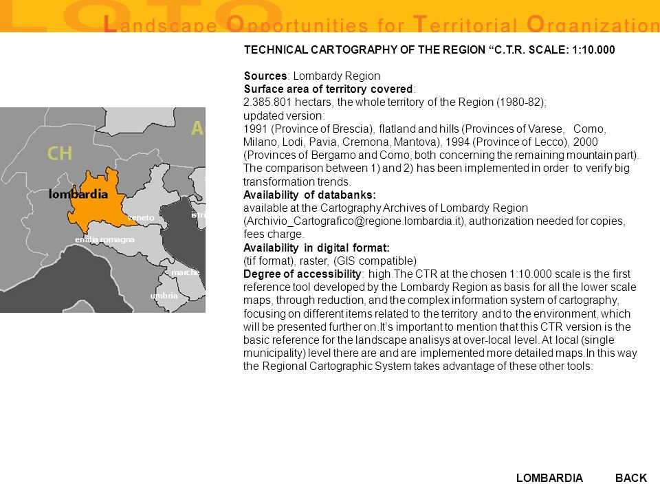 LOMBARDIA TECHNICAL CARTOGRAPHY OF THE REGION C.T.R.