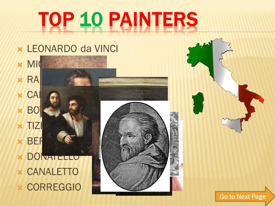 LEONARDO da VINCI MICHELANGELO RAFFAELLO CARAVAGGIO BOTTICELLI TIZIANO BERNINI DONATELLO CANALETTO CORREGGIO Go to Next Page