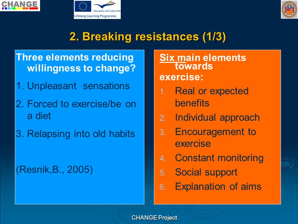 CHANGE Project 2.Breaking resistances – For how long.