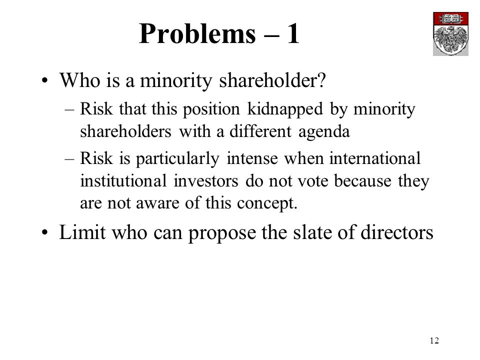 12 Problems – 1 Who is a minority shareholder? –Risk that this position kidnapped by minority shareholders with a different agenda –Risk is particular