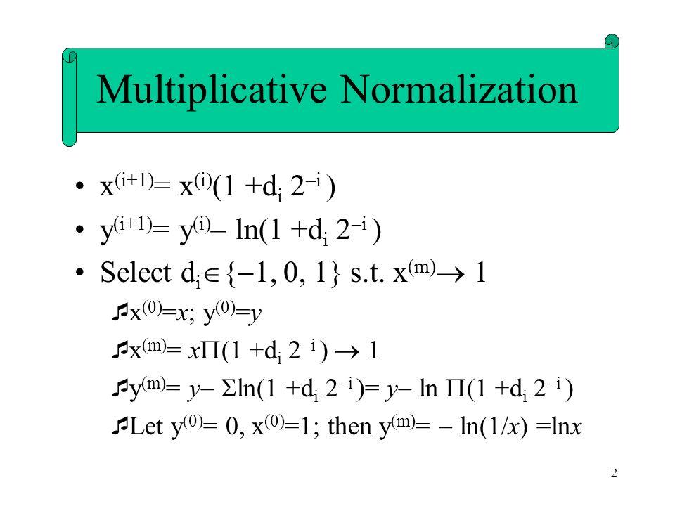 2 x (i+1) = x (i) (1 +d i 2 –i ) y (i+1) = y (i) – ln(1 +d i 2 –i ) Select d i { 1, 0, 1} s.t.