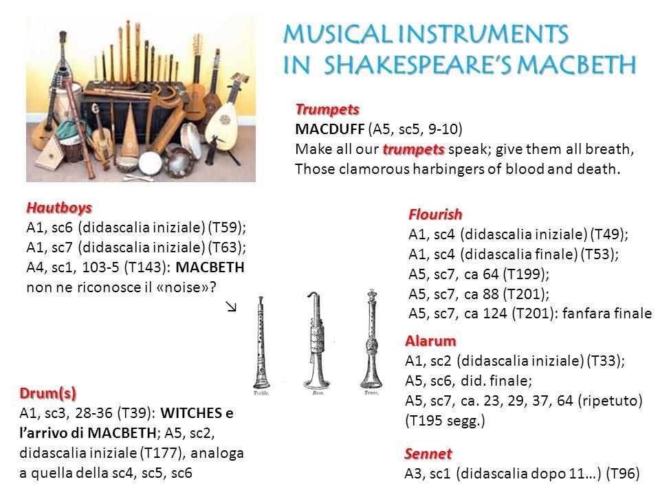 Hautboys A1, sc6 (didascalia iniziale) (T59); A1, sc7 (didascalia iniziale) (T63); A4, sc1, 103-5 (T143): MACBETH non ne riconosce il «noise»? Alarum