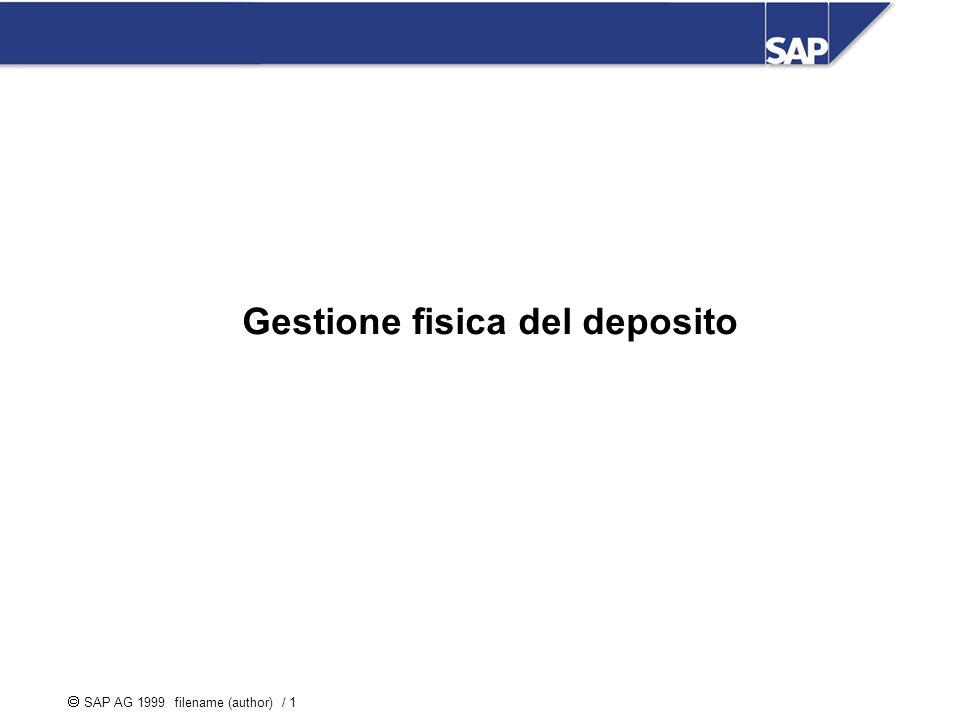 SAP AG 1999 filename (author) / 1 Gestione fisica del deposito Ge Gestione Gestione fisica del deposito