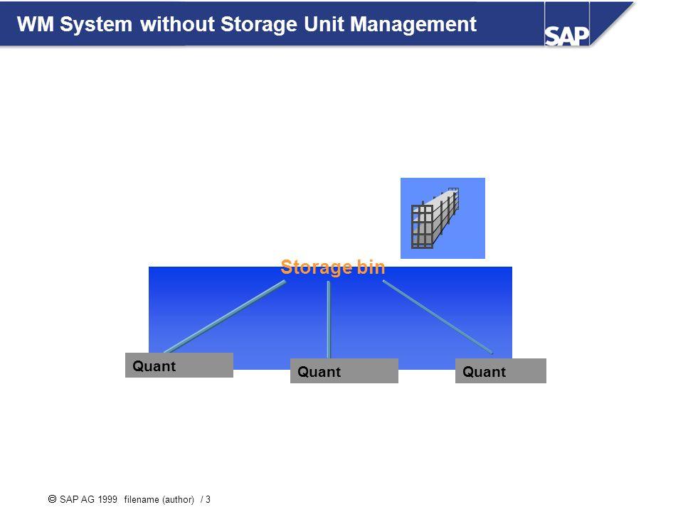 SAP AG 1999 filename (author) / 3 WM System without Storage Unit Management Storage bin Quant