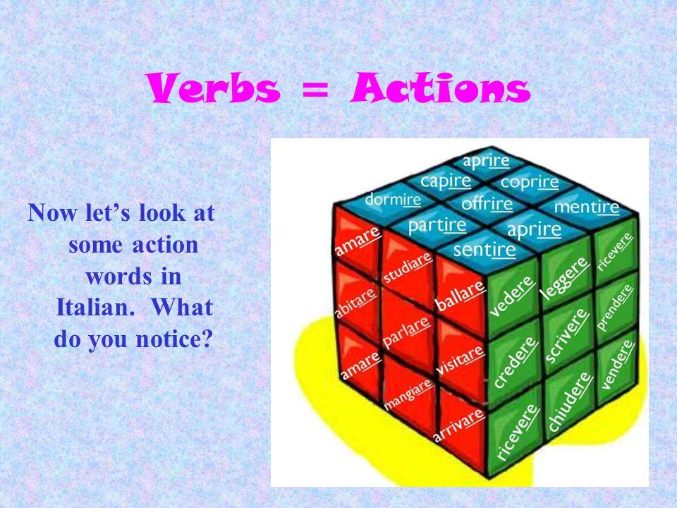 Italian Verbs 3 Big Groups of Words Verbs ending in –ARE Verbs ending in – ERE Verbs ending in – IRE