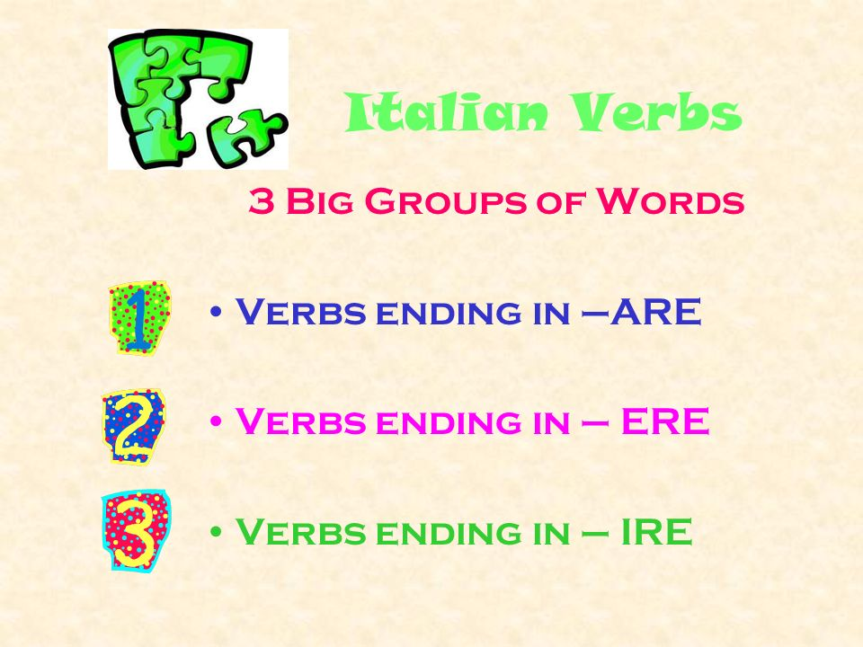 To = -are, -ere, -ire All verbs in their –are, - ere, -ire forms do NOT indicate the person whos doing the action but only general actions.