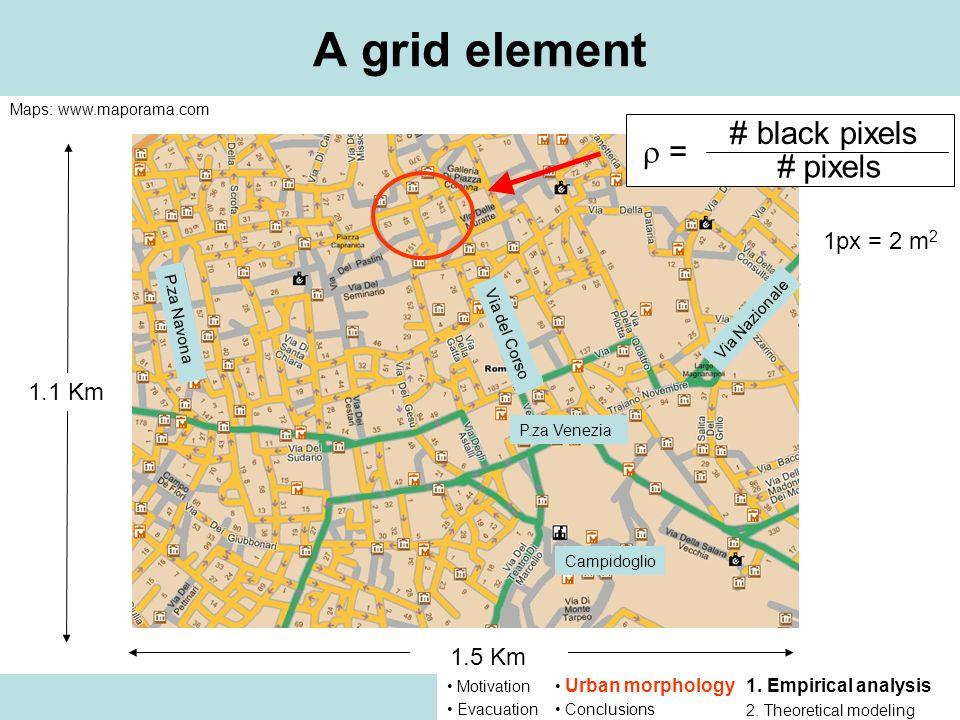 P.za Venezia 1.1 Km A grid element = # black pixels # pixels P.za Navona Via del Corso Via Nazionale Campidoglio 1.5 Km Maps: www.maporama.com 1px = 2