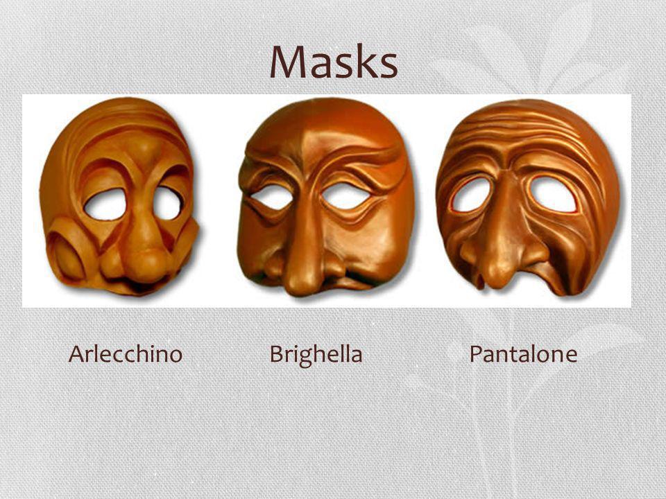 Masks Arlecchino Brighella Pantalone