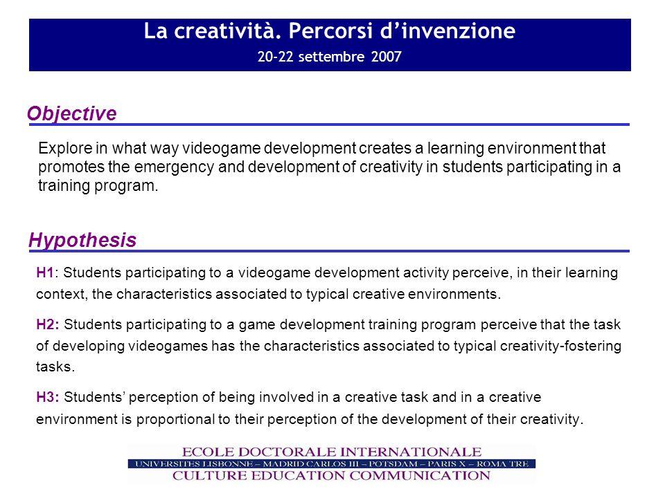 La creatività. Percorsi dinvenzione 20-22 settembre 2007 Objective Hypothesis H1: Students participating to a videogame development activity perceive,