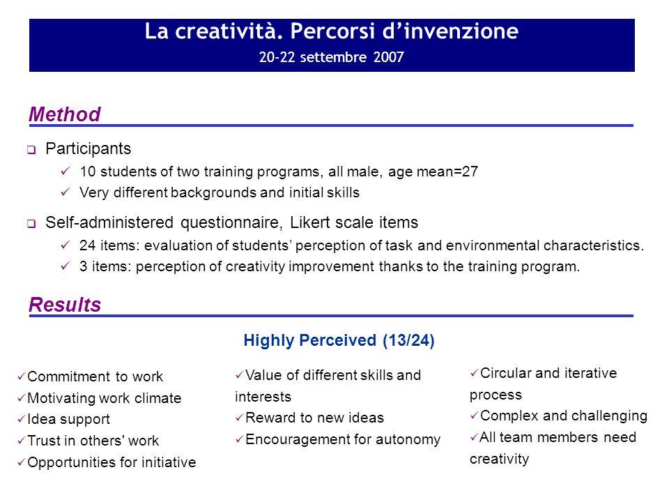 La creatività. Percorsi dinvenzione 20-22 settembre 2007 Method Results Self-administered questionnaire, Likert scale items 24 items: evaluation of st